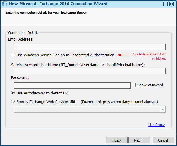 Create, Test, and Edit an Exchange / Office 365 (EWS) Connection