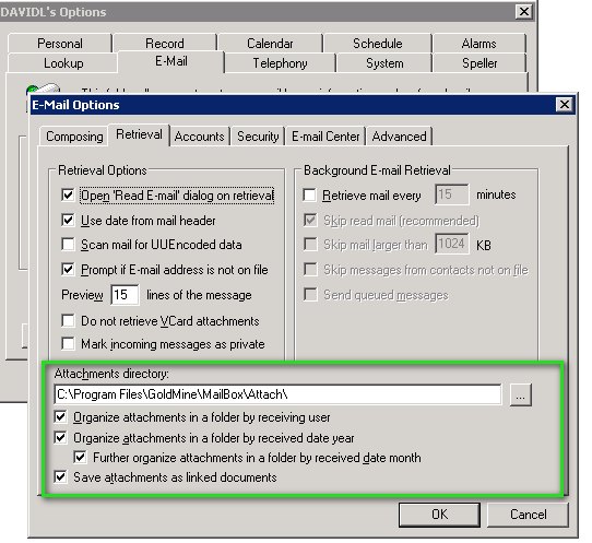 Advanced Options to Sync Attachments to GoldMine - Documentation and