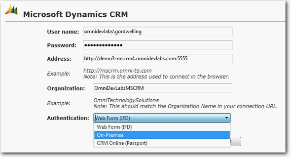 Riva Cloud: Microsoft Dynamics CRM 4. Legacy connection dialog box.