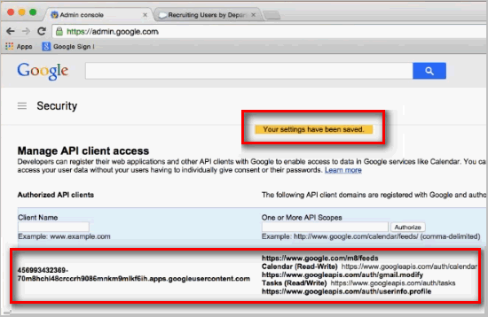 Google. Security window. Manage API client access page. Your settings have been saved.