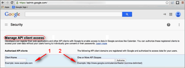 Google. Security page. Manage API client access.