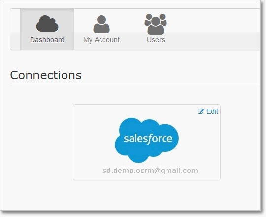 Riva Cloud. Connections page. Salesforce connection.
